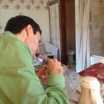 Aaron enjoying some breakfast in bed!